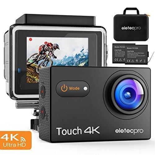 Action Kamera, EletecPro Wifi Sports Camera 4K 170° Weitwinkel Helmkamera 30M Wasserdicht 16MP 2'' LCD Touch Screen 2.4G Fernbedienung 20 weitere Zubehör Kits für Tauchen / Klettern / Schwimmen (Touch Action Kamera)