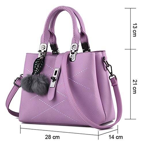 Young & Ming - Donna Borsa a spalla Borsa Tote Borsa a Mano in pelle Handbag con fuzzy ball Viola