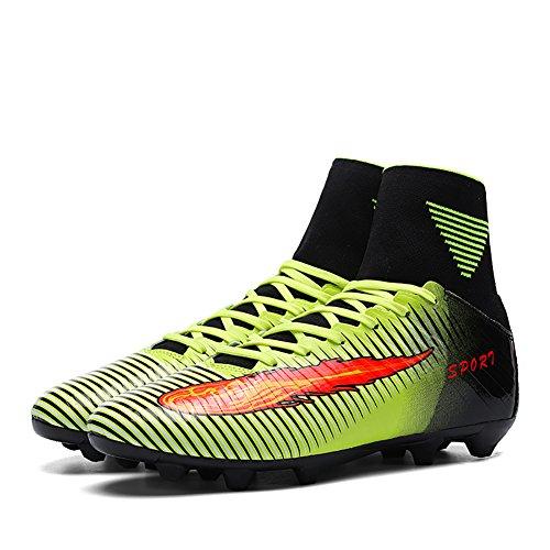 LEOCI Bois Chaussures de football Crampons en microfibres Adolescents Profession Athlétisme Vert