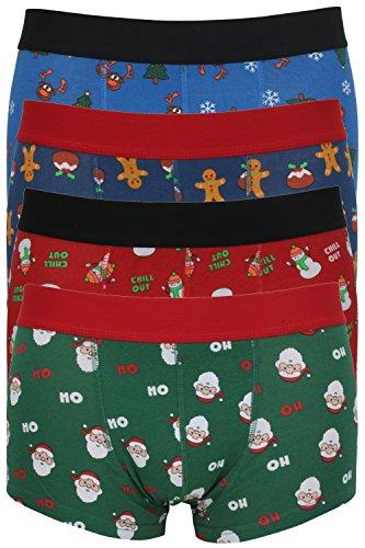 Tom Franks Herren-Boxershorts Weihnachtsmotiv, Hüftshorts Gr. Large, 4 Pack Multi
