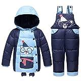 LSHEL Baby Schneeanzug Winterjacke Unisex Cartoon Kleinkind Daunenjacke und Schneehosen 2 Stück