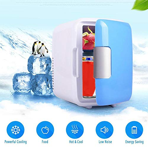 jiuhui 4L Elektroauto Kühlschrank Mini Tragbarer Kühlschrank Dual-Use Cool Warmer Schlafsaal Dosen Kühler Mini Kühlschränke Gefrierschrank für Camping, Auto, Büro
