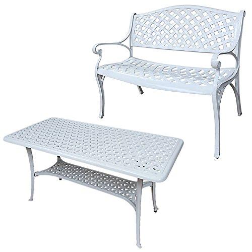 Lazy Susan - JASMINE Gartenbank und CLAIRE Rechteckiger Garten Beistelltisch - Gartenmöbel Set aus Metall, Weiß