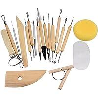 Hrph 19pcs Clay Esculturatalla suavizado Cera de ceramica de ceramica Set de herramientas con mango de madera