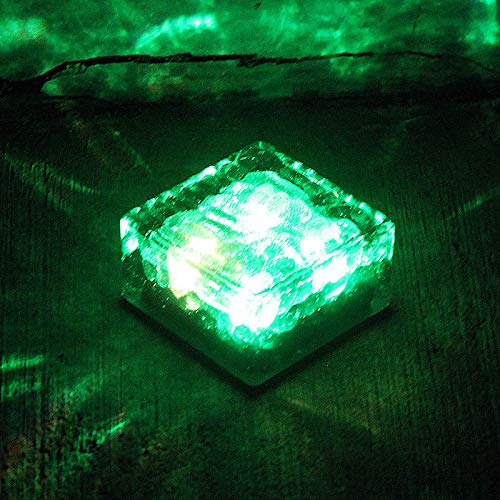 Fishyu Solar Ice Cube Lights Waterproof Color Changing LED Glass Brick Lamp for Path Yard Garden -