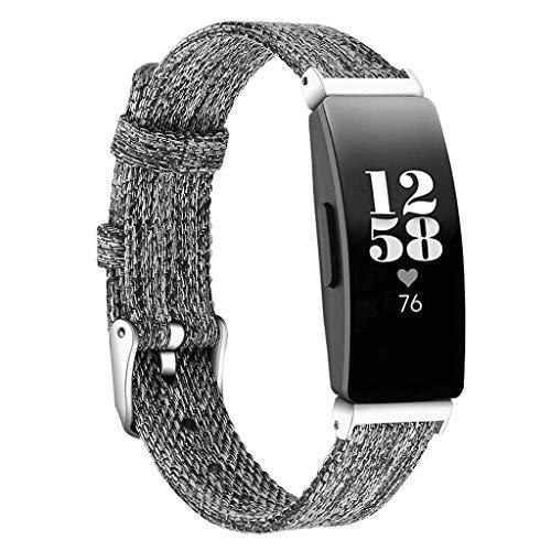 WAOTIER für Fitbit Inspire HR Armband L Gewebtes Segeltuch Stoff Sport Ersatz Armband Zubehör Band Kompatibel für Fitbit Inspire Armband für Fitbit Inspire HR mit Edelstahl Verschluss (Dunkelgrau) - Stoff-armband Verschluss