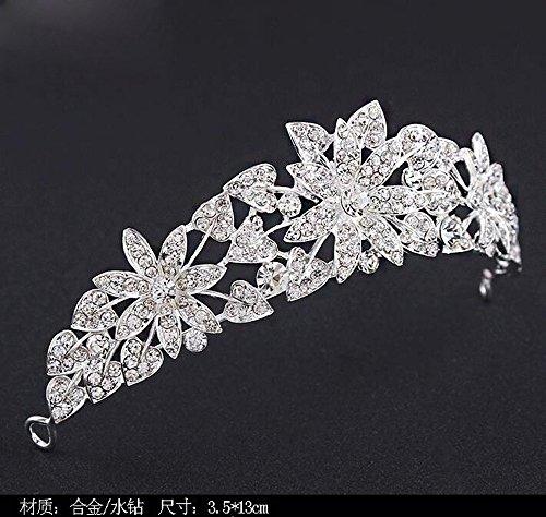 Ballsaal Haarnadel Haarschmuck Die Tiara Krone Diamant Princess Krone Haar Schmuck Silber Jewelrydress Accessoriesa (Feder Tiara)