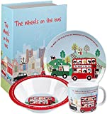 "Little Rhymes Melamine ""Wheels on The Bus"" Breakfast Set"