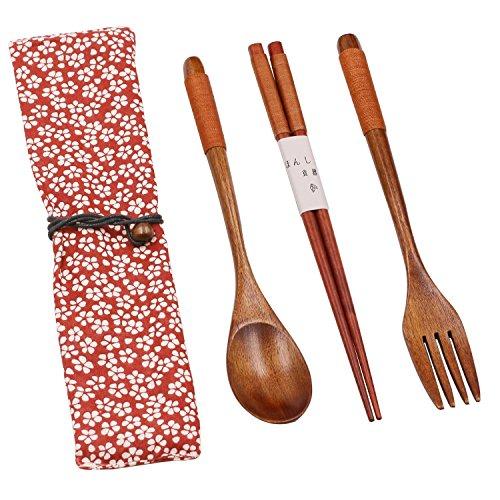 et aus Holz, 5-teilig mit Tasche für Camping, Reise, Picknick, Büro, Zuhause, Schule (Gabel, Löffel, Stäbchen) UKSTS-119 (Wie Man Mit Stäbchen)