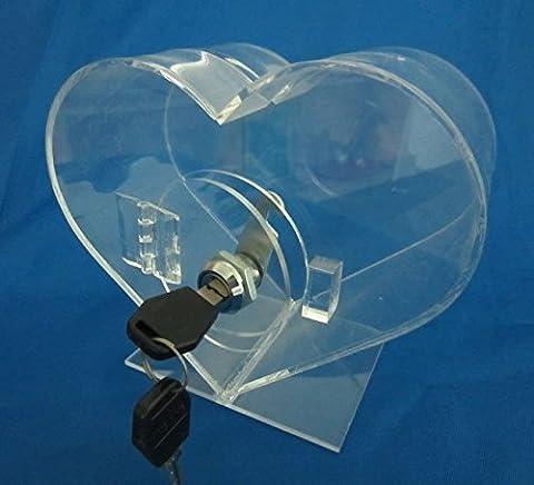 forme de coeur transparent urne de comptoir plexi pour la charité, l'église, la collecte de fonds