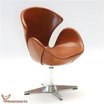 Phoenixarts Echtleder Drehsessel Vintage Ledersessel Braun Design