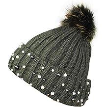 Caldo Cappellino da Donna 1st American con Perle e PON PON murmasky -  Berretto Invernale c2e721e4e480