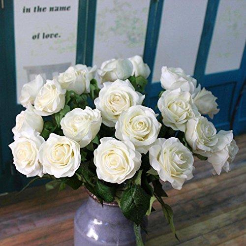 Kolylong Fleur Artificielle Bouquet Fleur De Rose Et Feuille...