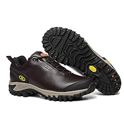 Xiang Guan Homme Low-top Lace-up Cuir Imperméable Outdoor Chaussures de Camping Randonnée Trekking Trail Walking Café