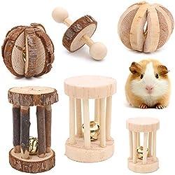 Winterworm Lot de 6 Jouets à mâcher en Bois pour Hamster, Souris, Chinchillas, Lapin, Gerbille, Cochon d'Inde