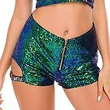 Shishanyun Mujeres Sexy Lentejuelas de Cintura Alta Carta Cortos Shorts DS Disfraces líder Dance Bar DJ Discoteca Cantante Rendimiento Ropa (Color : Blue, Size : S)