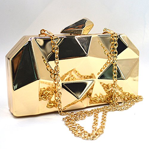 fd9cae4c47729 ... LAHAUTE Mode Damen Partys Clutches Abendtasche Umhängetasche  Metallelement mit abnehmbare Metall Kette Schnappverschluss Silber Gold ...