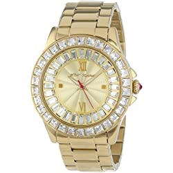 Betsey Johnson Women's Quartz Watch with Beige Dial Analogue Display and Gold Stainless Steel Bracelet BJ00004-16