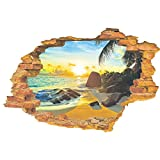 UNIQUEBELLA Wandsticker Sonnenstrand 3D Wandtattoo Wandaufkleber Fensterbilder Wall Art Sticker Decal
