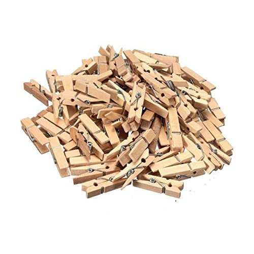 Mini Wooden Craft Pegs – Pack of 50 - Traditional Style Decorative Pegs for photos, DIY Crafts, Card display, Kids, Scrapbooking and Paper Craft