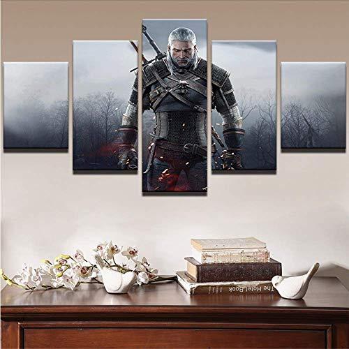 Wuwenw Moderne Wandkunst Malerei Drucken Bilderrahmen Wohnzimmer Wohnkultur 5 Panel Film Spiel Witcher 3: Wild Hunt Leinwand Poster, 4 X 6/8/10 Zoll, Mit Rahmen