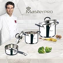 Masterpro PK733 - Batería de cocina set 5 pcs. Cazo 16 cm; Ollas rectas 16 y 20 cms. con tapa, cromado, inducción
