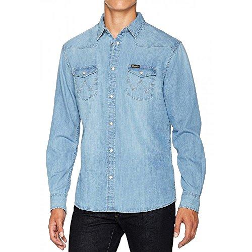 Wrangler uomo ls western shirt camicia in jeans not applicable, blu (light indigo 74e), xxx-large