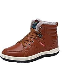 Juleya Zapatillas de deporte para hombre - Botas de invierno Zapatos ocasionales Zapatos acolchados calientes Zapatillas de deporte de tobillo Impermeable Negro / Azul oscuro / Marrón