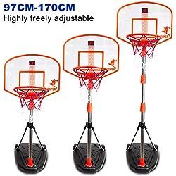 LDB SHOP Panier de Basket Enfant Hauteur Réglable Portable pour Enfants 97-170 Cm 3-10 Ans avec Dispositif de pointage
