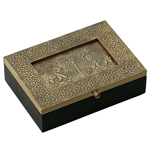 De madera elefante joyero con marco de fotos–decoración hermosa latón metal hoja...