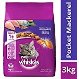Whiskas Dry Cat Food, Mackerel Flavour for Adult Cats (+1 Year) – 3 kg Pack