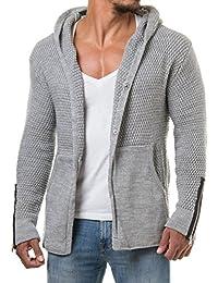 Carisma Veste en tricot cardigan bleu marine en cuir synthétique matelassé correctifs 7221