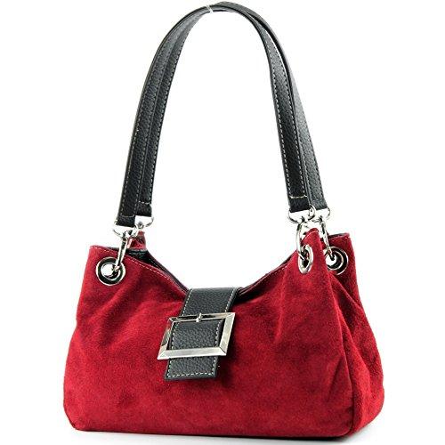ital. Mesdames sac à main fourre-tout Satchel sac en cuir suède Petit TL02, Color:Dark red