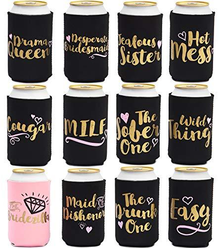 Bier kann Ärmel-12Pack Drink Koozies Bezüge mit isolierter, 12oz Neopren Kühler für Soda, Bier, können Getränke-, 6,1x 6,1x 10,2cm Pink & Black