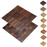Holz-Wandverkleidung Holzmosaik Fliese 28x28cm I Eiche Tabak I nachhaltige EchtHolz Wand-paneele I Moderne Wanddekoration, Fußboden & Decke (30x93mm)