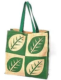 Generic Puneri Women's Stylish Jute Hand Bag With Bird And Rangoli Print Pattern Cream Color