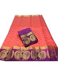 Art Decor Women's Yellow Color Kanjivaram Emboss Tassar With Jecqured Border With Blouse Saree