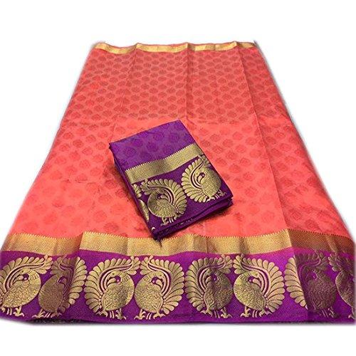 Art Decor Women\'s Kanjivaram Emboss Tassar With Jecqured Border With Blouse Saree