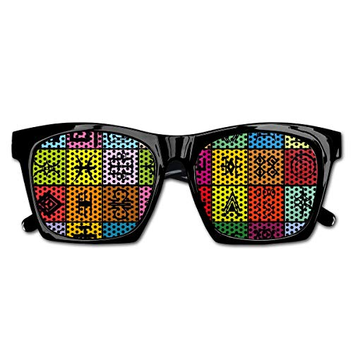 Mesh Sunglasses Sports Polarized, Tribal Ethnic Elements Collage In Colorful Squares Aboriginal Symbolic Figures,Fun Props Party Favors Gift Unisex -