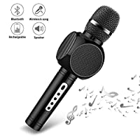 Ksera Wireless Karaoke Microphone, Bluetooth Microphone Player with Speaker For Home KTV Outdoor Party Music, Voice Changer Compatible with IOS& Android Smartphone/tablet, Gift for Kids(Black)