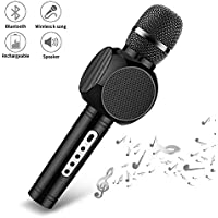 Ksera Wireless Karaoke Microphone, Bluetooth Microphone Player with Speaker For Home KTV Outdoor Party Music, Voice Changer, Compatible with IOS& Android Smartphone/tablet, Gift for Kids(Black)