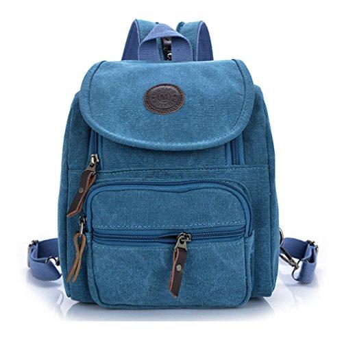 Keshi Leinwand Cool Schulrucksäcke/Rucksack Damen/Mädchen Vintage Schule Rucksäcke mit Moderner Streifen für Teens Jungen Studenten Hellblau