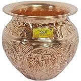 SHIV SHAKTI ARTS Handmade Pure Copper Designer Kalash/Lota with Om Design Volume=300ml for Pooja and Suranamaskar Purpose