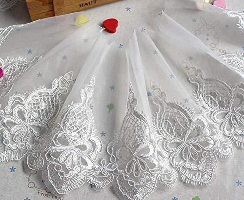 AiCheaX Spitze basteln - 18 cm breite weiße Blume Baumwolle Stickerei Spitze Stoff Kragen Band Nähen Applique DIY Dubai Schärpe Bastelbedarf - (Farbe: weiß) (Schärpe Stickerei)