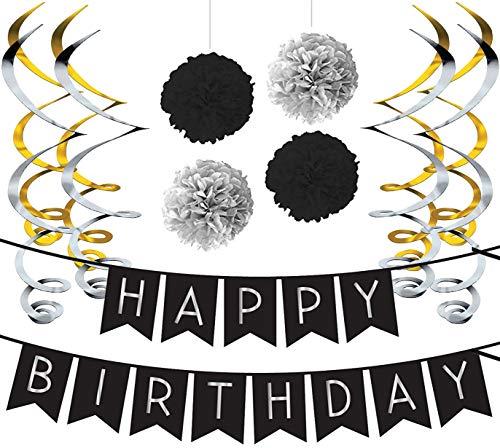 - Deko Geburtstag Set, Schwarz & Silber Girlande, Pom Poms und Spiralgirlande Silber - Party Zubehör 18. 30. 40. 50. ()