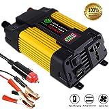 Chenguang Spannungswandler 1000W Wechselrichter DC 12V auf AC 230V Autosteckdose Adapter Konverter mit 2 USB und LED Display Auto Zubehör Ventilator