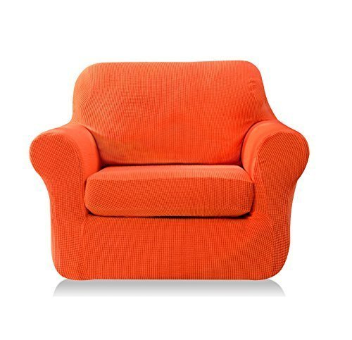 Subrtex 2-Piece Spandex Stretch Sofa Slipcover (Chair, Orange) by Subrtex