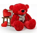 [Sponsored Products]5 Feet RED Stuffed Spongy Hugable Cute Teddy Bear Cuddles Soft Toy For Kids Birthday / Return Gifts Girls Lovable Special Gift High Quality 152 CM