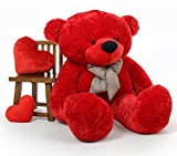 #6: Lovable/Huggable Teddy Bear with Neck Bow for Girlfriend/Birthday Gift/Boy/Girl (RED, 5 FEET)