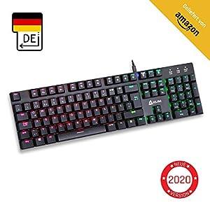 KLIM Dash – Niedrigprofil mechanische QWERTZ Tastatur mit roten Schaltern für kultivierte Professionelle Anwender und Gamer – RGB Farben – Metallrahmen Vollständige Anpassbarkeit